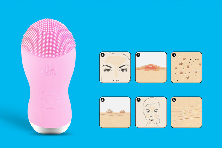 Electric waterproof silicone Facial Cleanser deep cleansing blackhead wash instrument household face massager face cleaning ultrasonic electric facial cleansing brush waterproof silicone face massager vibration skin remove blackhead pore cleanser