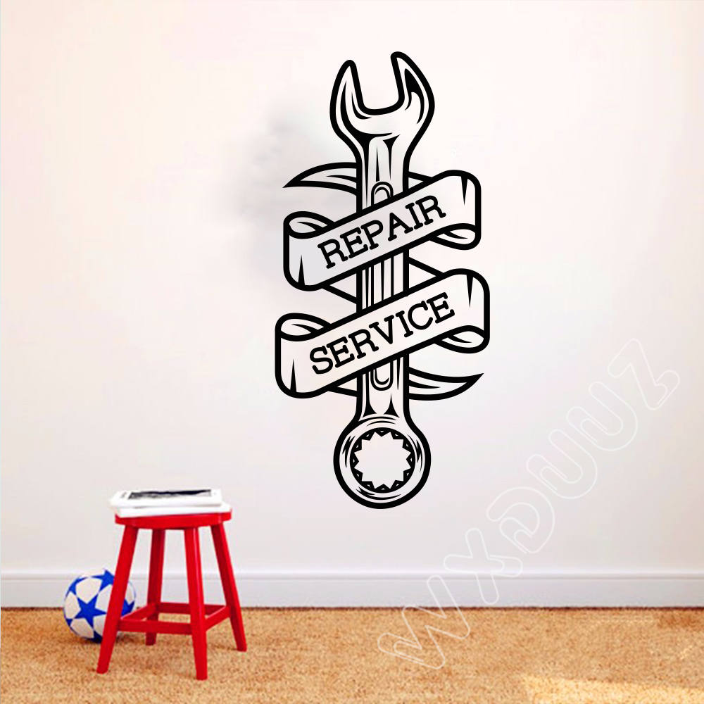 Car Repair Service Wall Decal Car Workshop Garage Wrench Vinyl Sticker Home Room Interio ...