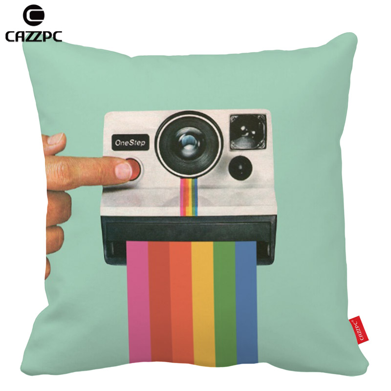 Funny Polaroid Camera Rainbow Print Car Decorative Pillowcase Pillow cases Cushion Covers Sofa Home Decor