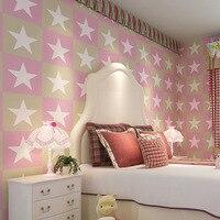 American Children Room Wallpaper Nonwovens British Big Stars Vertical Striped Cartoon Boy Girl Bedroom Tv Background