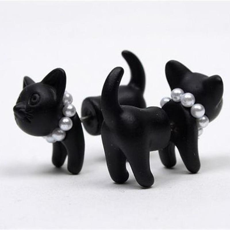 Ear Piercing Simulated Pearl 3d Cat Stud Earrings Lovely Black Women Sale Jewelry Stereoscopic 1 Piece Jewelry & Accessories Earrings