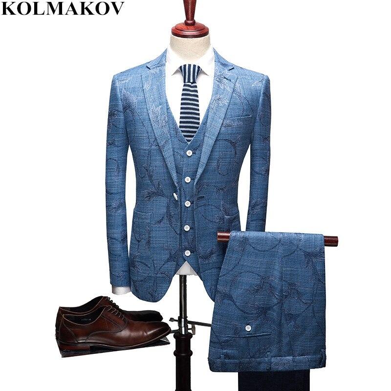 (Куртка + жилет + штаны) 2018 Для мужчин костюмы Slim fit Бизнес Повседневное Для мужчин s костюм блейзеры куртки жилет брюки человек Цветочные Наря