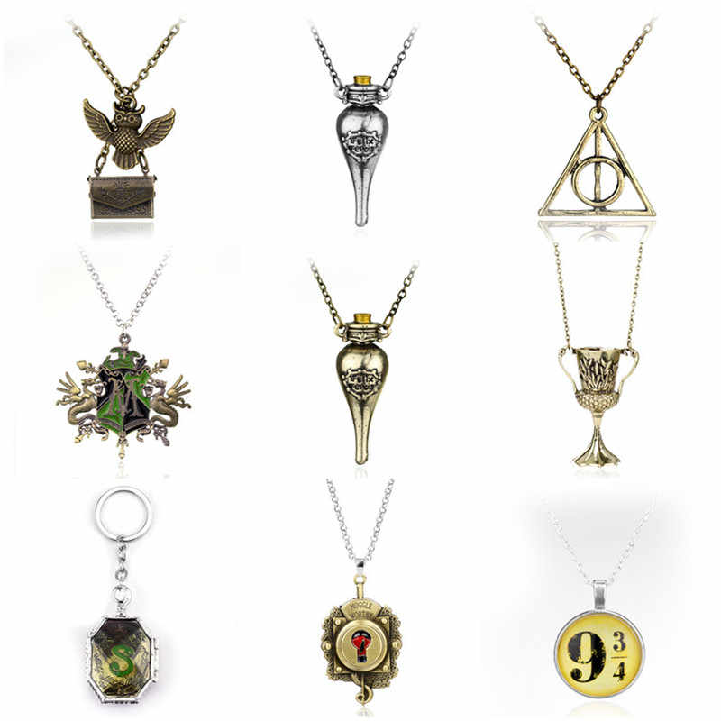 Fashion HP Slytherin College Harta Horcrux Liontin Kalung Slytherin Kotak Horcrux Kit Kalung & Liontin Perhiasan Film