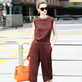 Europe and America Style Women Crochet Suit Beading Stretch Knit Wide Leg Pants Suit Women Tops and Blouses 2016 Fashion