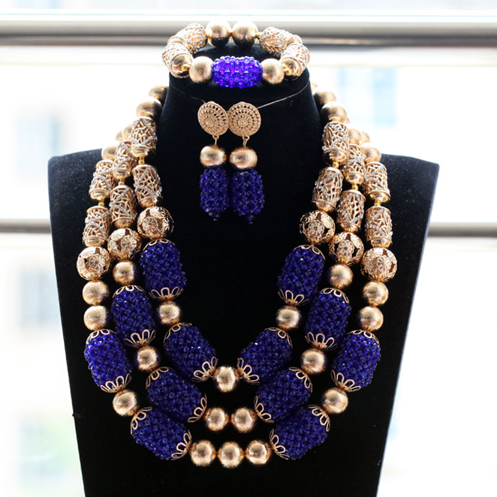 Royal Blue Crystal African Beads Wedding Jewelry Sets Women Jewelry Sets Dubai Gold Events Occassion Beads Set QW1221Royal Blue Crystal African Beads Wedding Jewelry Sets Women Jewelry Sets Dubai Gold Events Occassion Beads Set QW1221