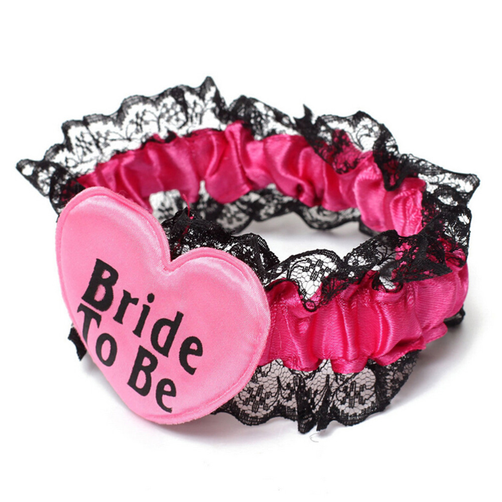 New Bride To Be Badge Black Red Lace Garter Wedding Hen Night Bachelorette Party Decor Supplies