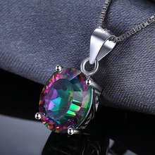 JewelryPalace 2.5ct Rainbow Fire Mystic Topaz Concave Oval Pendant 925 Sterling Silver Fine Jewelry For Women Gift Without Chain