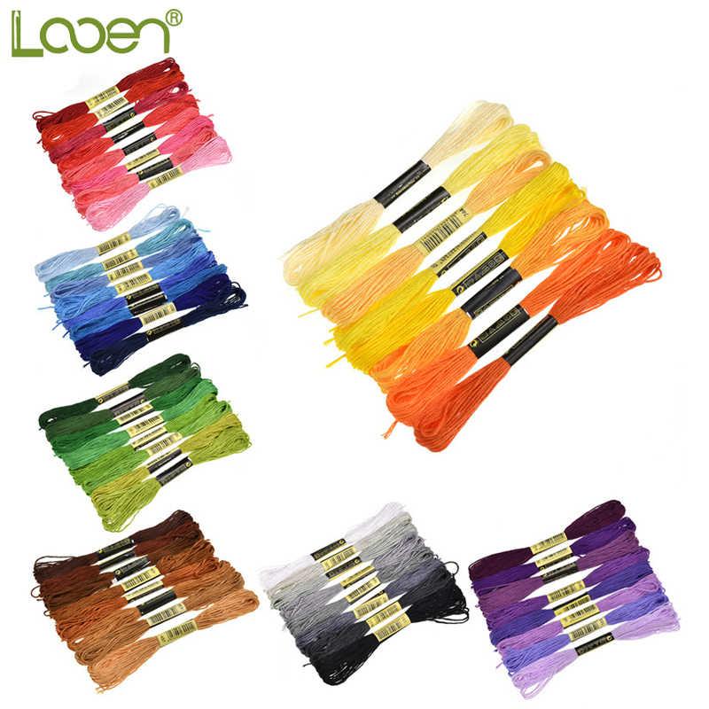 Looen 8 개/몫 비슷한 색상 스레드 크로스 스티치 치실 6 주 자수 스레드 바느질 skeins 공예 수제 액세서리