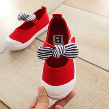 Canvas Spring And Autumn Season New Non-slip Soft Bottom Woman In Children Bow Cloth Shoe Walking Shoes Eur 21 - 26 #1