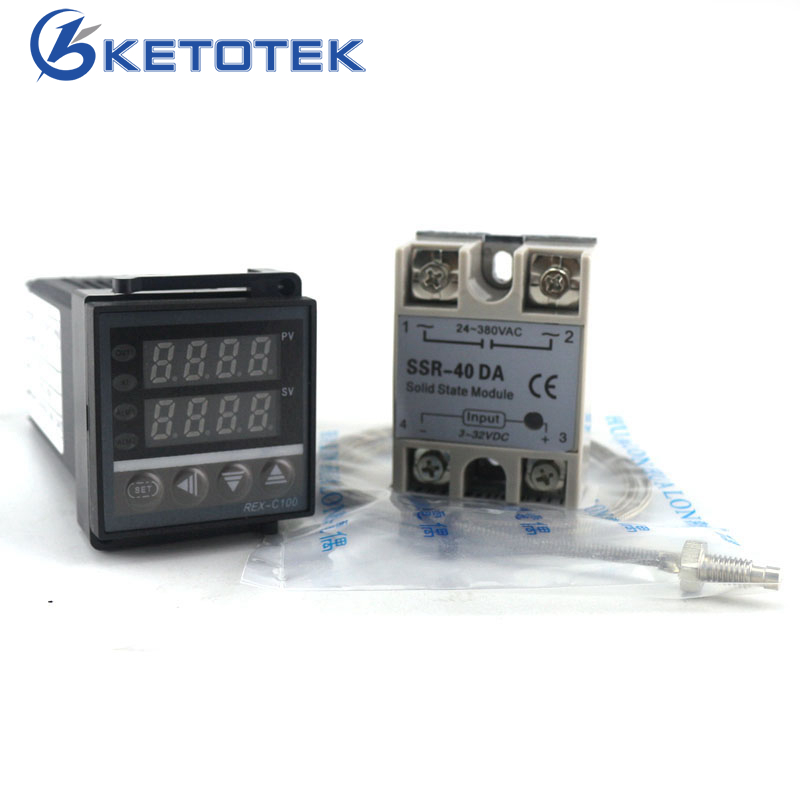 Dual PID Thermostat Regulator SSR Output Digital PID Temperature Controller REX-C100 0-400C with Thermocouple K SSR 40A SSR-40A