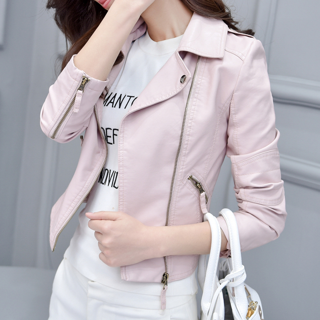 White Pink Autumn Leather Jacket PU Motorcycle Korean Tide 2016 New Women Fashion Leather Female Short Jaqueta De Couro Feminino