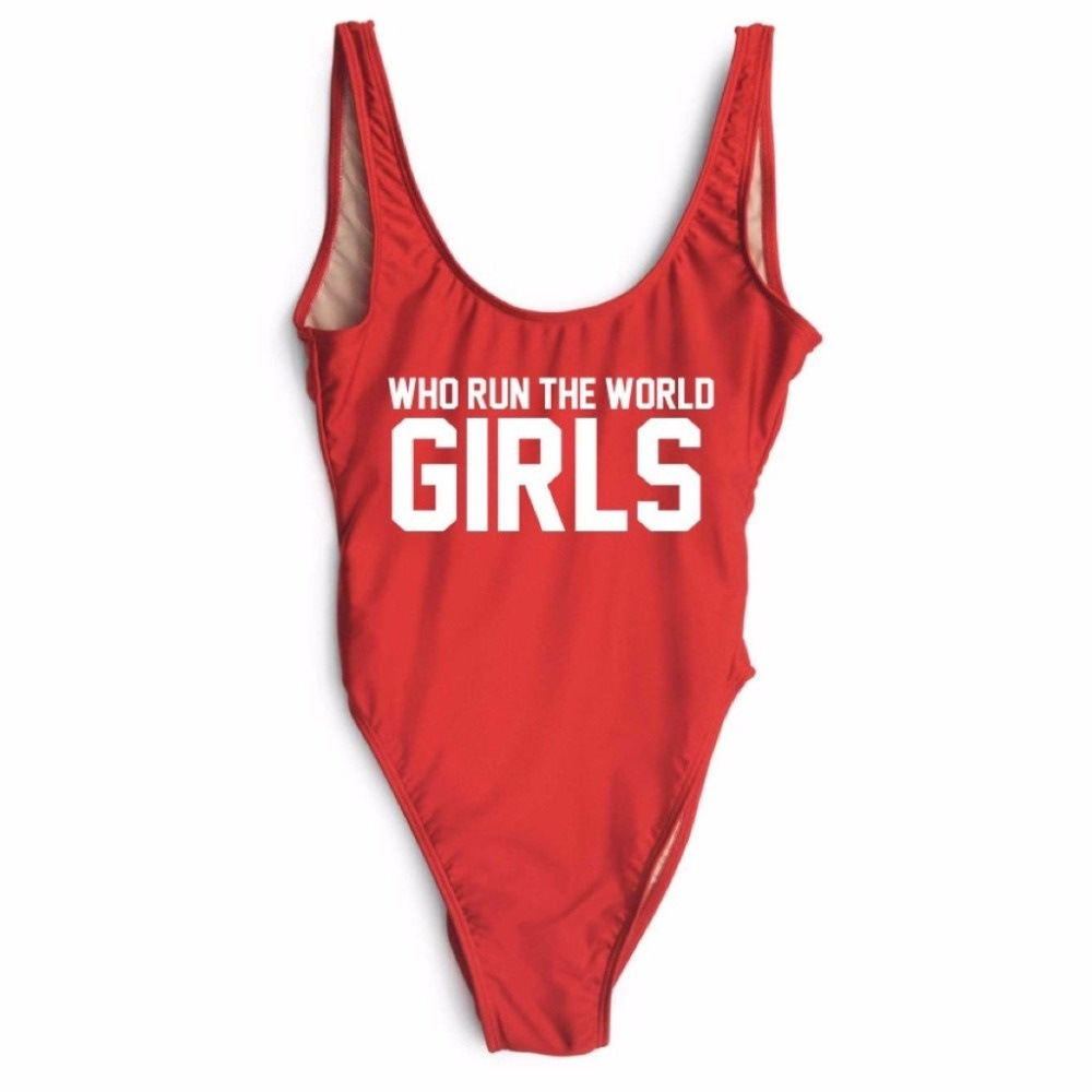 Red Swimwear Women Swimming Suit One Piece Bathing Suits Printing letter WHO RUN THE WORLD GIRLS Biquini Maillot De Bain Femme bad girls throughout history 100 remarkable women who changed the world