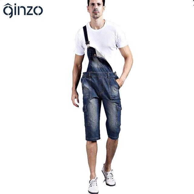 Men's plus size denim shorts Casual pocket overalls Loose jumpsuits Bib pants Capri Free shipping