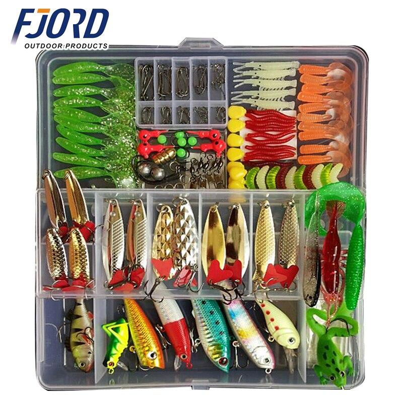 Quente novo multi isca de pesca cores misturadas plástico metal isca macia kit pesca equipamento wobbler colher peche artificias
