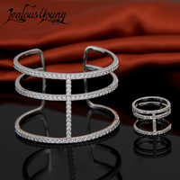 Steampunk Vintage AAA Cubic Zirconia Rings Bangles Jewelry Sets Fashion CZ Jewelry Set For Women Parure