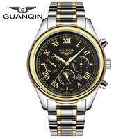 2015 New Arrival Luxury Brand Men Quartz Watches With Moon Phase Full Stainless Steel Silver Gold