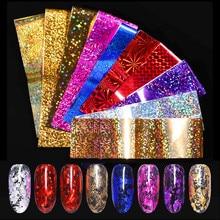 7 Colors/Kit Holographic Nail Foils Transfer Sticker Rose Gold Champagne Stickers 4*20cm Art Design