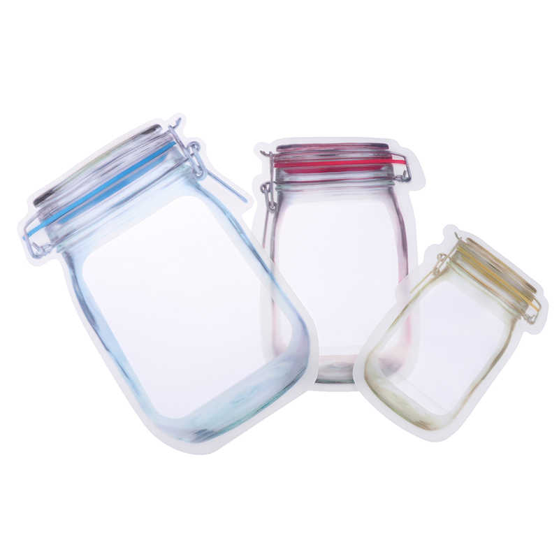 10PCS Pack Jar Bag Reusable Snack Bag Mobile Hermetic Freezer Bags Ziplock Bags Kitchen Food Mason Bottle Travel Seal Pouch