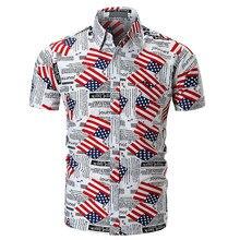 Verano impresión del periódico camiseta HipHop manga corta Camisetas  Harajuku bandera americana impresa camisas de los hombres 26fcbe432e058