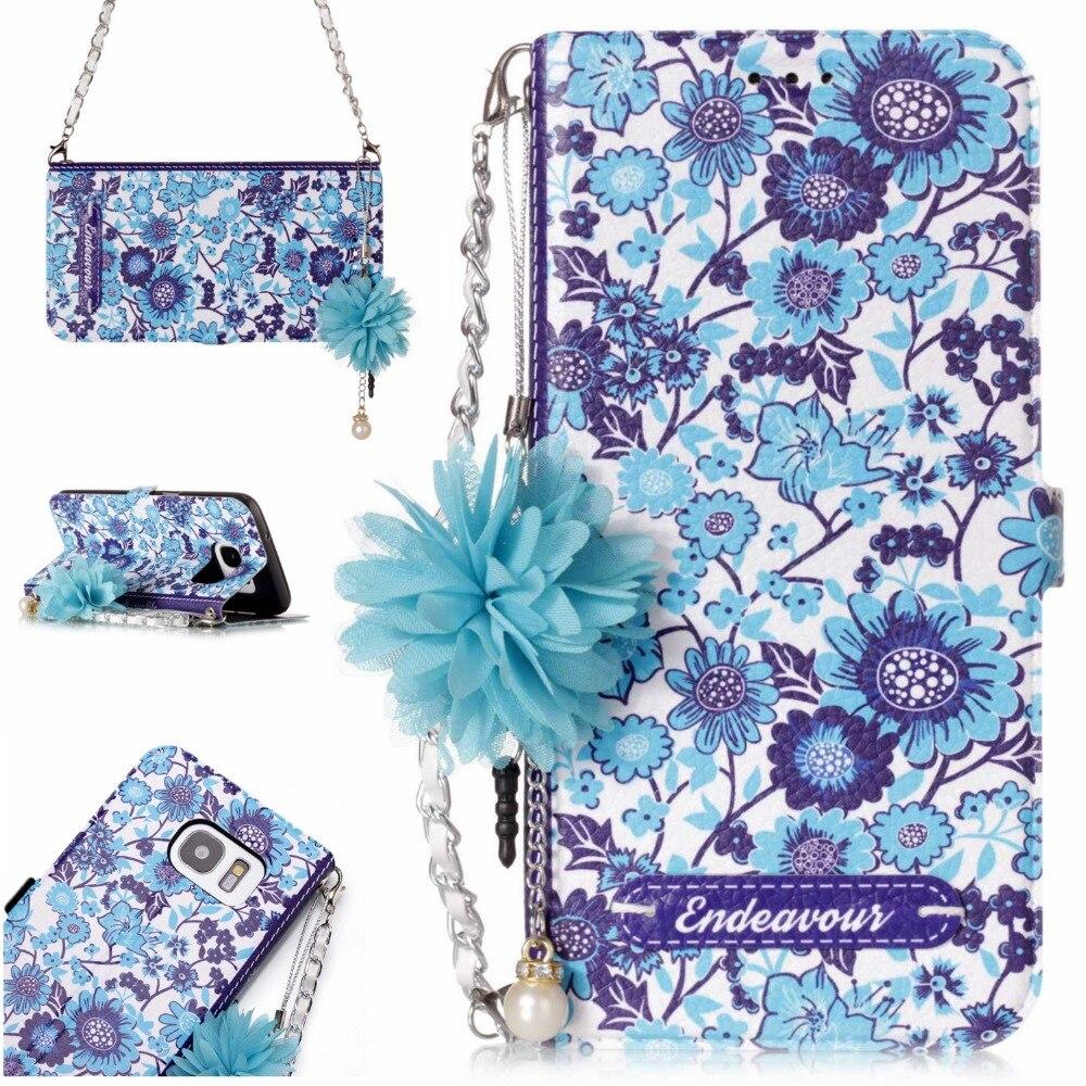 Luxury Leather Wallet Cover <font><b>Case</b></font> for Samsung Galaxy S7Edge S6Edge S6 S5 Women Handbag Crystal Diamond Flower 5.5&#8243; <font><b>Phone</b></font> <font><b>Cases</b></font>