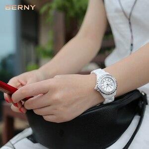 Image 3 - BERNY White Ceramic women watches waterproof luxury Japan Quartz relogio feminino  Best Gift For Christmas New Year 2316L