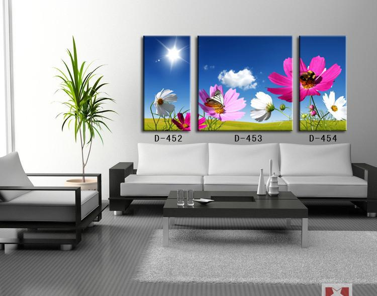 Frameless Canvas Paintings 3PCS Decorative Painting Canvas Modern Living  Room Blue Flowers Art Wall Mural Painting For House In Painting U0026  Calligraphy From ... Part 92