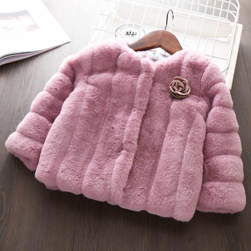 Детское пальто для девочек; сезон весна-зима; коллекция 2017 года; Модный Кардиган для маленьких девочек; пальто из искусственного меха для девочек; плотная теплая куртка принцессы; 12 месяцев