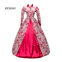 KEMAO 2018 Hot sale Victorian Gothic Period Red Cotton Dress Ball Gown Ghost Reenactment Witch Steampunk Costume/cosplay dress