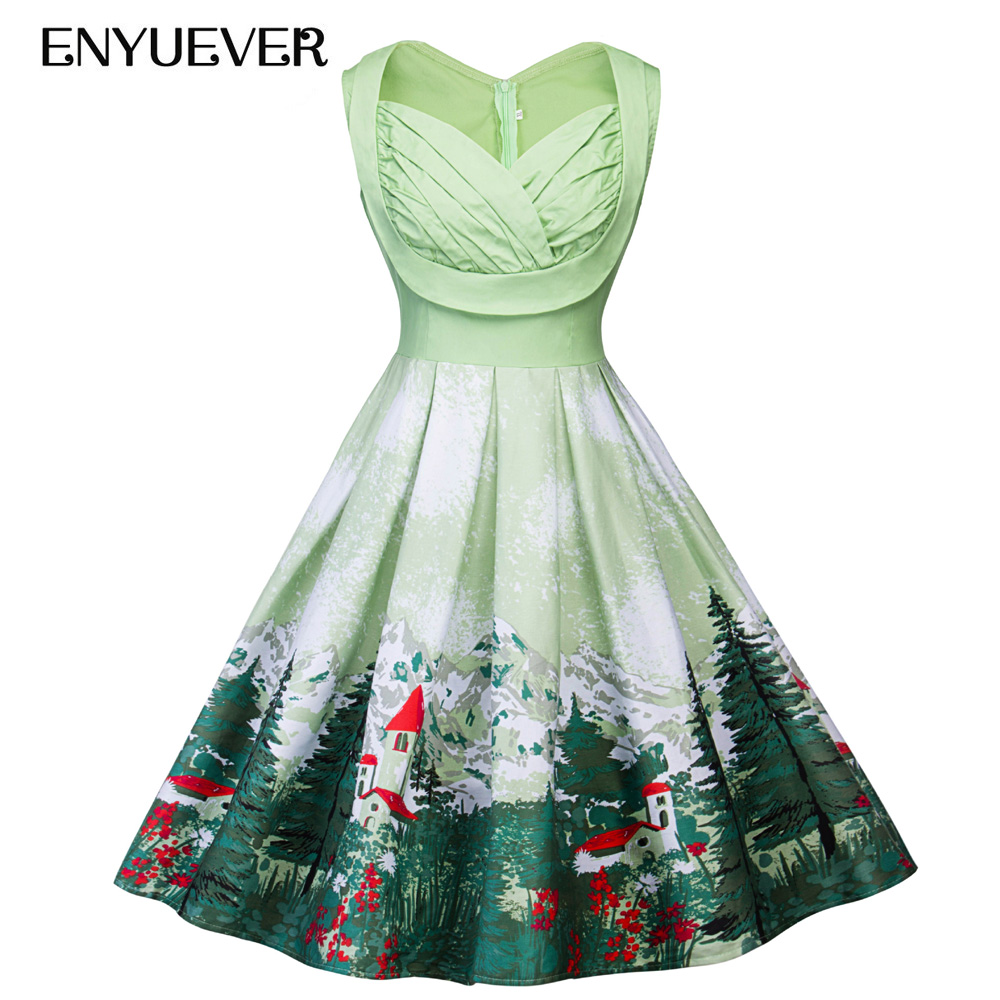 Enyuever Plus Size Vintage Dresses 50s 60s Swing Tunic House Tree Print  Retro Vestido Casual Party Rockabilly Dress Women 5XL