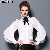 2015 Cutout Lace Patchwork O Neck One Piece Shirt Top Basic Lantern Sleeve Shirt Perspective