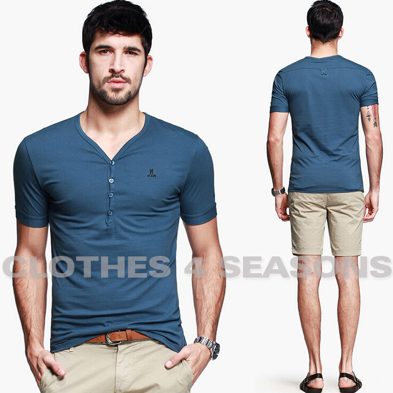 Handsome fashion men 39 s short sleeve t shirt henry button for Tight collar t shirts
