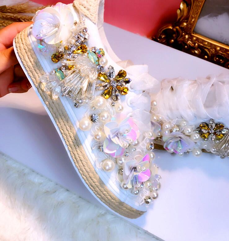 HKJL small white shoes increase female wild new Korean version of handmade custom rhinestone pearl fashion canvas shoes  HKJL small white shoes increase female wild new Korean version of handmade custom rhinestone pearl fashion canvas shoes