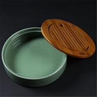 XMT HOME Porcelain kungfu tea tray Japanese tea tray three layers bamboo mat 1pc