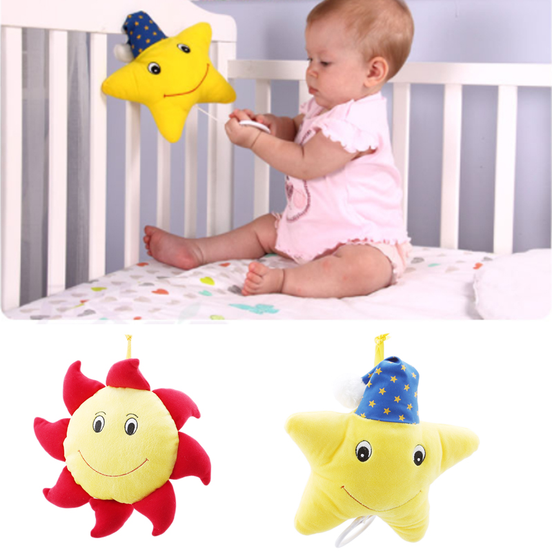 Infant Baby Plush Stuffed Doll Sleeping Comfort Musical Crib Mobile Toys For Children Birthday Gift Brahms Lullaby Star Sun