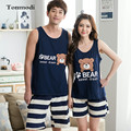 2016 NEW Pajamas Women Love Sleepwear Men Sleepwear Sleeveless Vest  Cotton Couple Pajamas Set