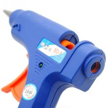 NEW 100-220V High Temp Heater Melt Hot Glue Gun 20W Repair Tool Heat Gun Blue Mini Gun With Trigger US/EU Plug