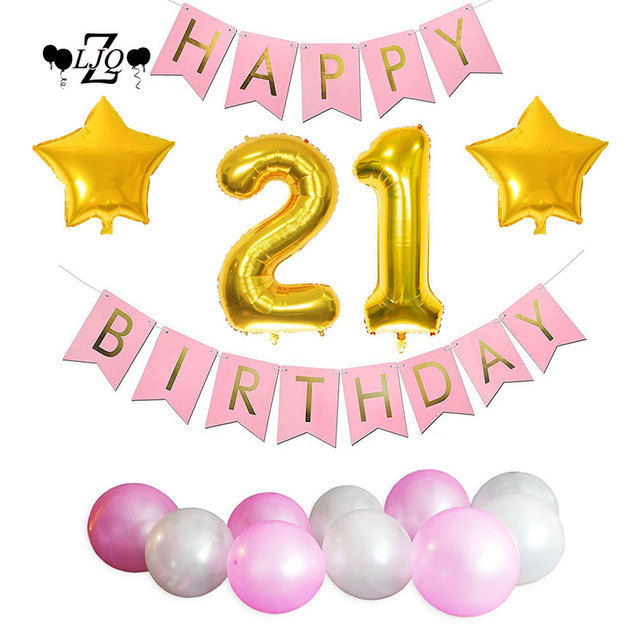 ZLJQ Girl 1st 2nd 3rd 10th 18th 21st 30th Birthday Decorations Number Balloon Happy Banner Flag Garland Star