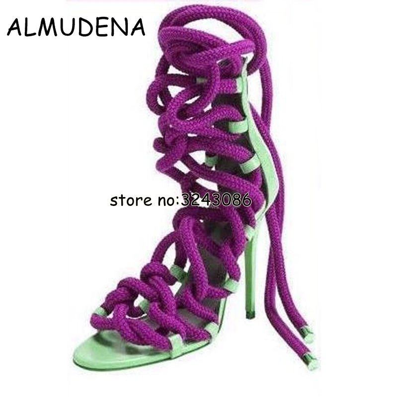 90d5dbd6d8b1 Newest Designer Rope Braided Lace-up High Heel Sandal Sexy Open toe Cut-out  Gladiator Strappy Sandal Boots Women Dress Shoes - aliexpress.com -  imall.com