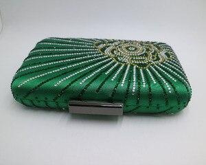 Image 4 - Новинка, темно зеленая/фиолетовая большая атласная коробка для шелка, клатч и вечерние сумки с цветами для женщин, вечерние свадебные платья для выпускного вечера