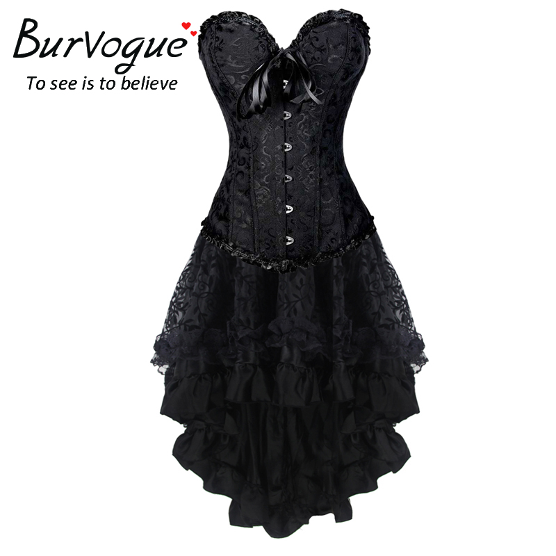 Burvogue 2 Pcs Sexy Steampunk Steel Boned Overbust Corset Dress Vintage Jacquard Lace Corsets Top Women Push Up Gothic Corset lace up steel boned halter corset top