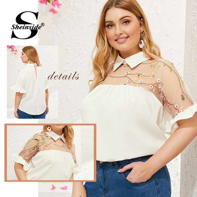 Sheinside Plus Size White Contrast Mesh Embroidered Blouse Women 2019 Summer Half Sleeve Blouses Ladies Flounce Sleeve Top 4