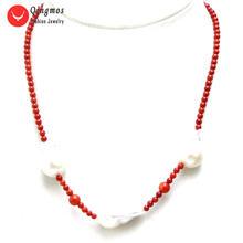 Qingmos ожерелье из натурального коралла для женщин с 3 мм красным