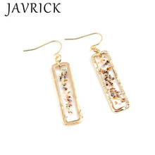Fashion Women Retro Temperament Earrings Personalized Crystal Gravel Rectangular Shell Earring Jewelry