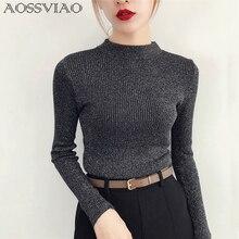 Shiny Lurex Autumn Winter Sweater Women Long Sleeve Pullover Women Basic Sweaters Women Turtleneck 2018 Korean Knit Tops Femme цена и фото