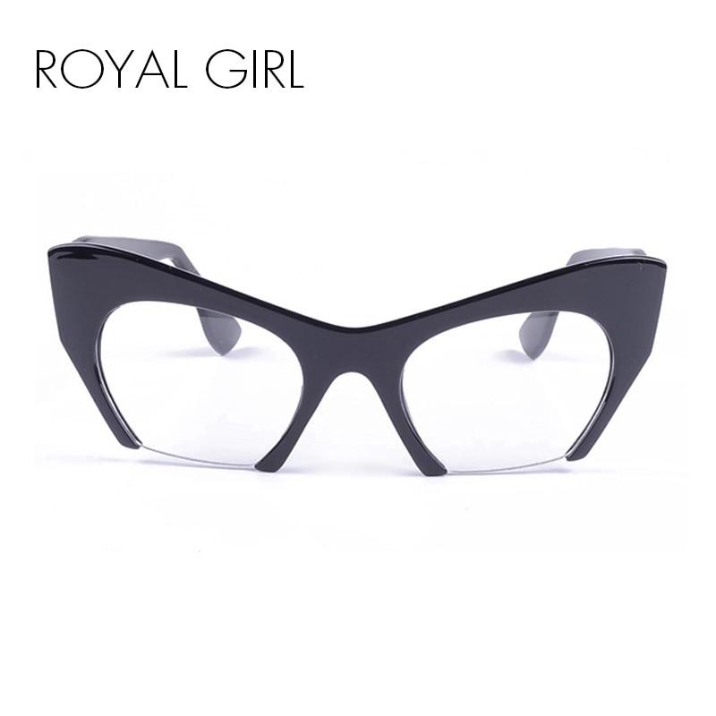 ROYAL GIRL Kaķu acu saulesbrilles Sieviešu zīmola dizainera acetāta brilles Sieviešu Vintage pusi rāmja Unisex brilles UV400 ss291