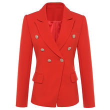Blazer de styliste femmes, boutons lions en métal, Double boutonnage, veste, rouge, nouvelle mode automne hiver, 2020