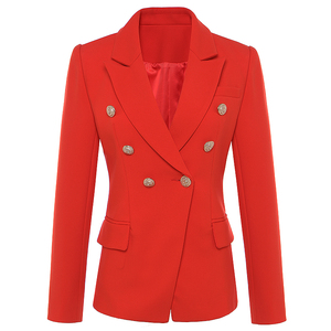 Image 1 - New Fashion 2020 Fall Winter Baroque Designer Blazer Womens Metal Lion Buttons Double Breasted Blazer Jacket Outer Coat Red