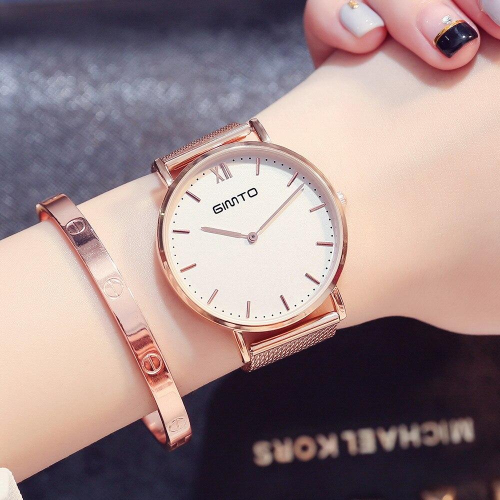GIMTO Femmes Bracelet En Or Rose Montres Marque De Luxe Quartz Dame Amoureux Montre-Bracelet Étanche Mâle Femelle Horloge Relogio Feminino