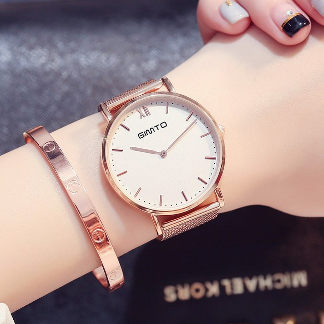 GIMTO Women Rose Gold Bracelet Watches Luxury Brand Quartz Lady Lovers Wristwatc