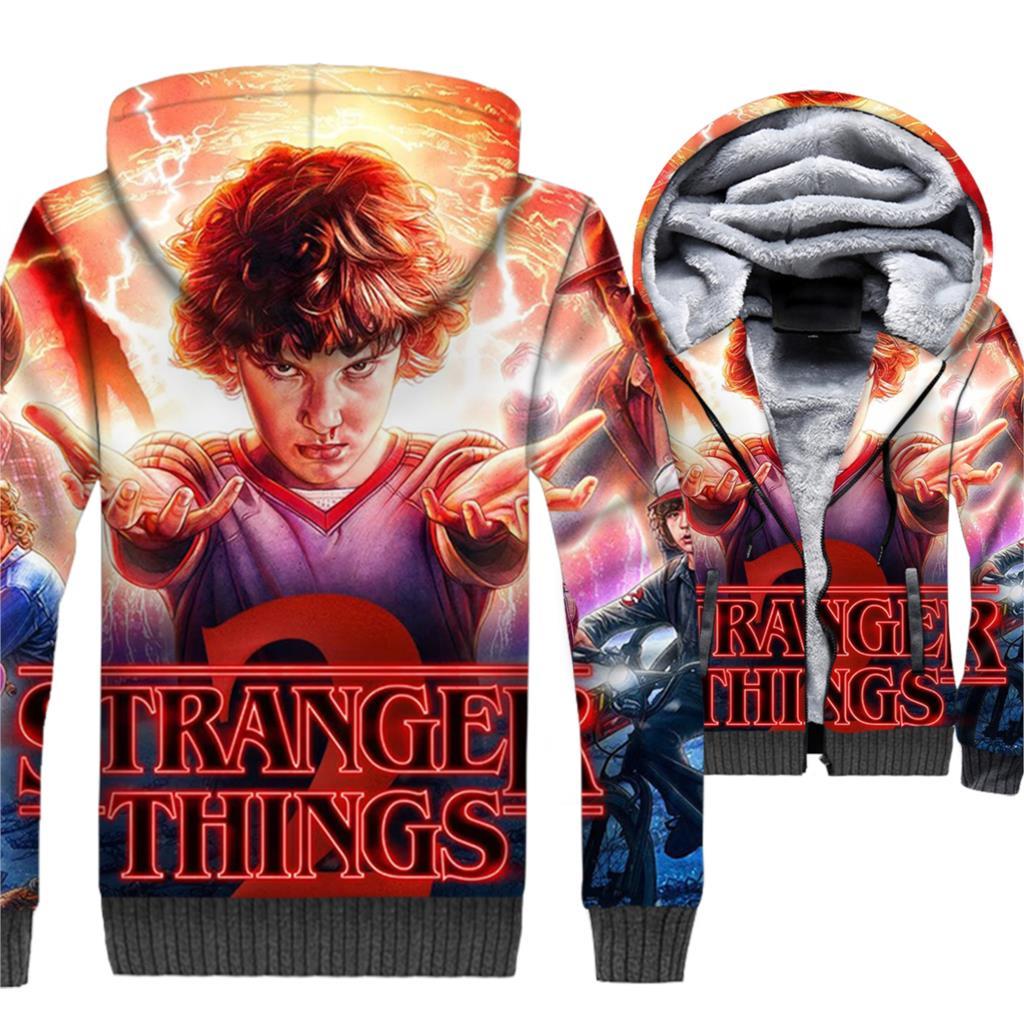 3D Stranger Things Pattern Streetwear Hoodies Men 2018 Autumn Winter Thick Sweatshirt Male Punk Zipper Tracksuits Hoody Jackets
